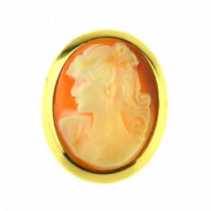 Brosa camee autentica scoica, placata aur, gold plated 18 k, duble, profil dama