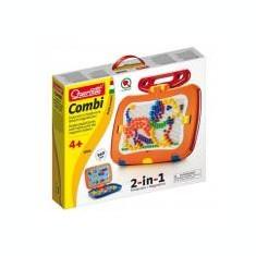 Tablita magnetica cu litere 2 in 1 cu piese mozaic si desene magnetice Quercetti pentru copii - Jocuri Litere si Cifre