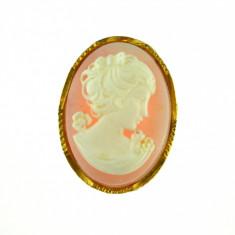 Brosa camee placata aur, gold plated 18 k, duble, decorata camee profil dama - Brosa placate cu aur