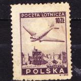 Timbre POLONIA 1946 = AVION DEASUPRA WARSOVIEI, Stampilat