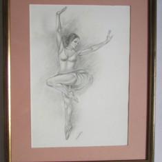 TABLOU-BALERINA-2-creion pe carton, inramat, sticla protectie, semnat - Tablou autor neidentificat, Scene gen, Carbune, Realism