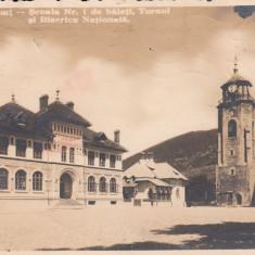 PIATRA NEAMT SCOALA NR1 DE BAIETI TURNUL SI BISERICA NATIONALA CIRC. IAN.1940 - Carte Postala Moldova dupa 1918, Circulata, Fotografie