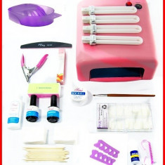 KIT UNGHII FALSE, SET MANICHIURA GEL, LAMPA UV 36 W Sina