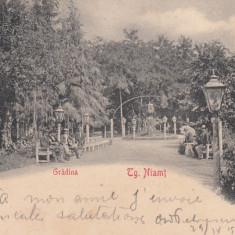 TARGU NEAMT, GRADINA, CLASICA, CIRCULATA SEPT. 1902 - Carte Postala Moldova pana la 1904, Printata