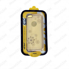 Husa originala remax cu flori GOLD Apple iPhone 6 6S - Husa Telefon Remax, Auriu