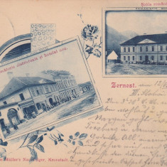 ZARNESTI BRASOV JUDECATORIE DISTRICTUALA SI HOTELUL NOU SCOALA ROMANA CIRC.1902 - Carte Postala Transilvania pana la 1904, Circulata, Printata