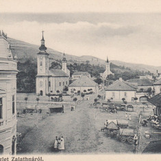 ZLATNA, SALUTARI DIN ZLATNA, PIATA, CLASICA - Carte Postala Transilvania pana la 1904, Necirculata, Printata