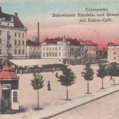 CERNAUTI, CAMERA DE COMERT SI CAFENEAUA KAISER, CIRCULATA IAN. 1918 - Carte Postala Bucovina dupa 1918, Printata