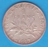 (1) MONEDA DIN ARGINT FRANTA - 1 FRANC 1917, 5 GRAME, PURITATE 835, Europa