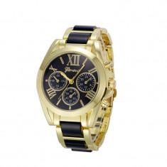 Ceas auriu gold cadrane negre Fashion geneva curea metalica + cutie cadou - Ceas dama Geneva, Quartz, Otel, Analog
