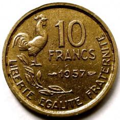 RAR ! FRANTA 10 FRANCS 1957, COCOSUL GALIC, Europa, Bronz