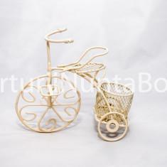 Marturii nunta / botez bicicleta crem din metal CEL MAI MIC PRET DE PE PIATA