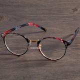 Ochelari dama lentila clara RETRO material plastic design floral  +husa inclusa, Rotunda, Femei