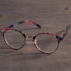 Ochelari dama lentila clara RETRO material plastic design floral + toc, Femei
