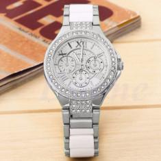 Ceas dama FASHION curea metal argintiu si plastic alb mat  + cutie simpla cadou
