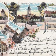 SIBIU, SALUTARI DIN SIBIU, LITOGRAFIE 1898 - Carte Postala Transilvania pana la 1904, Circulata, Printata
