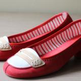 Pantofi rosii din piele naturala, Hispanitas - Pantof dama, Culoare: Rosu, Marime: 37