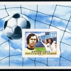 CONGO 1978 SPORT, C.M. DE FOTBAL, BECKENBAUER   COLITA  NESTAMPILATA