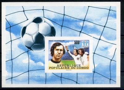 CONGO 1978 SPORT, C.M. DE FOTBAL, BECKENBAUER   COLITA  NESTAMPILATA foto