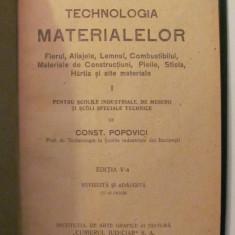 "GE - Const. POPOVICI ""Tehnologia Materialelor"" 1926"