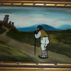 Tablou mic pictura pe sticla (cetate taran), Peisaje, Acuarela, Realism