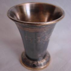 Cupa din alama argintata cu patina - Metal/Fonta