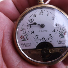 Ceas mecanic de buzunar, Elvetian, de 8 zile.Functioneaza.Rereducere! - Ceas de buzunar vechi