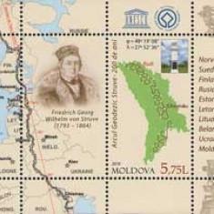 MOLDOVA 2016, Aniversari - Arcul Geodezic Struve, serie neuzată, MNH, Nestampilat