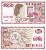 MACEDONIA 5.000 dinari 1992 UNC!!!