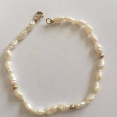 Bratara finuta din perle cu aur 14 k
