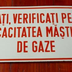 Indicator protectia muncii tabla emailata - verificarea mastilor de gaze ..... ! - Metal/Fonta