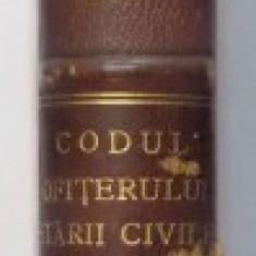 CODUL OFITERULUI STARII CIVILE intocmit de MARIN VARJOGHIE, NICOLAE I. DASCALESCU 1926