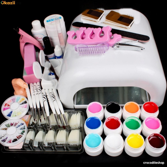 Kit Set Unghii False Gel uv Manichiura ,Lampa 36w ,12 GELURI COLOR