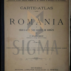 F. STAMATESCU - ROMANIA - CARTE -ATLAS - CELELALTE TARI LOCUITE DE ROMANI ( MACEDOROMANI-AROMANI ) - Carte de colectie