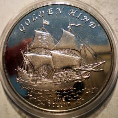 5.413 GILBERT ISLANDS KIRIBATI GOLDEN HIND 1 ONE DOLLAR 2015 AUNC EXOTICA, Australia si Oceania, Cupru-Nichel