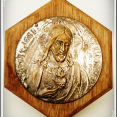 APLICĂ MICĂ DE PERETE - JESU MISERICORDIA - ALAMĂ ARGINTATĂ PE PLACAJ HEXAGONAL!