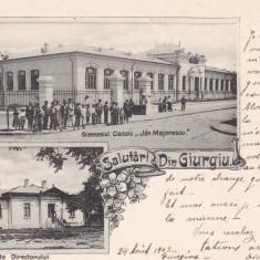 GIURGIU, SALUTARI DIN GIURGIU, GIMNAZIUL CLASSIC ION MAIORESCU, CLASICA 1902 - Carte Postala Muntenia pana la 1904, Circulata, Printata