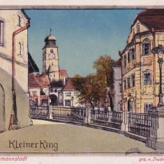 SIBIU, SIBIUL VECHI, KLEINER RING, CIRCULATA IULIE 1918 - Carte Postala Transilvania dupa 1918, Printata