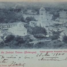 SOUVENIR DIN JUD TULCEA DOBROGEA VEDERE GENERALA A MANASTIRII COCOS CLASICA 1900, Circulata, Printata
