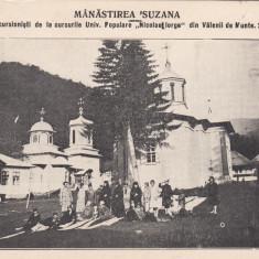MANASTIREA SUZANA EXCURSIONISTI DE LA CURSURILE UNIV.POPULARE N IORGA 24/06/1927 - Carte postala tematica, Necirculata, Printata