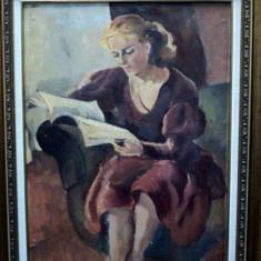 Lucretia Mihail Silion (n. 1895), Lectura, verso Interior - Pictor roman