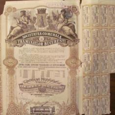 GE - 10 actiuni 5000 lei total Societatea Comunala Tramvaielor Bucuresti 1945/ 1, Romania 1900 - 1950