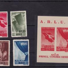 ROMANIA 1945 LP 171 LP 172 ARLUS SERIE SI COLITA MNH - Timbre Romania, Nestampilat
