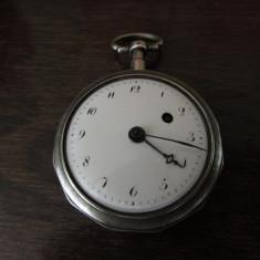 CEAS DE BUZUNAR VERGE FUSEE CARCASA ARGINT FRANTA SEC 19 - PERFECT FUNCTIONAL - Ceas de buzunar vechi