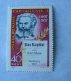 """Timbru """"100 ani de la aparitia lucrarii """"Capitalul"""" de Karl Marx"""" - 1967, LP661"""