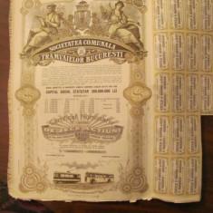 GE - 10 actiuni 5000 lei total Societatea Comunala Tramvaielor Bucuresti 1945/ 2, Romania 1900 - 1950