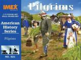 Set 43 figurine + 3 curcani + 3 capre - Pilgrims - American History IMEX  1:72