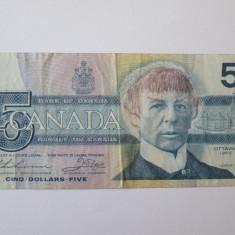 CANADA 5 DOLLARS 1986 - bancnota america