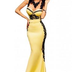 L451-9 Rochie eleganta de seara, tip sirena, cu model din dantela neagra - Rochie de seara, Marime: M/L, L, Galben, Maxi, Cu bretele