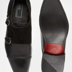 Pantofi Casual/ Eleganti din Piele Naturala, catarama dubla 43 - Pantofi barbat Asos, Culoare: Negru